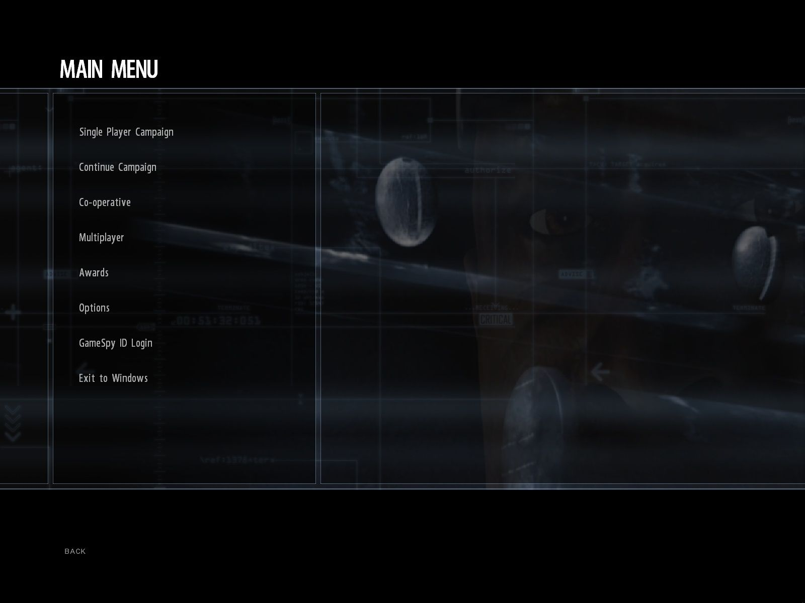 Conflict: Denied Ops Windows Main menu