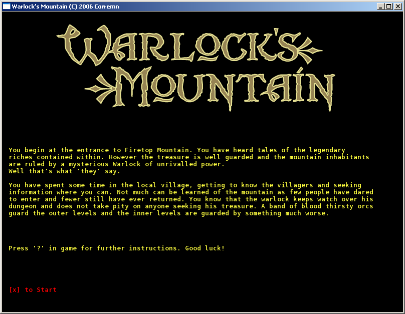 Warlock's Mountain Windows Introduction