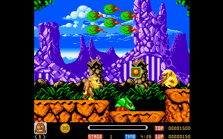Toki Amiga This is the first level. Nice and colorful graphics.