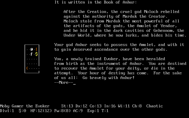 NetHack DOS Class and alignment-appropriate introduction!