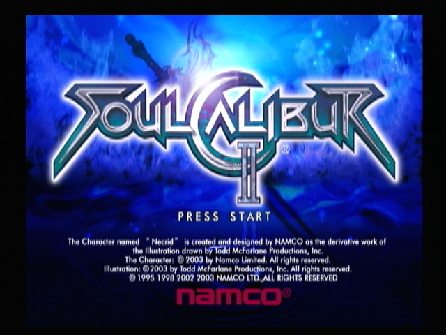 SoulCalibur II PlayStation 2 Title screen