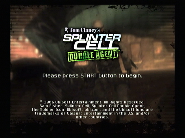 Tom Clancy's Splinter Cell: Double Agent PlayStation 2 Title screen.