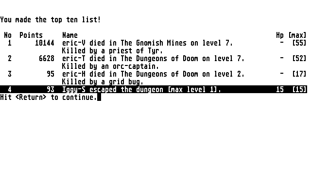 NetHack Atari ST You are dead (v3.1.1)