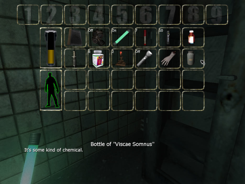 Penumbra: Black Plague Windows The inventory, battery status and health