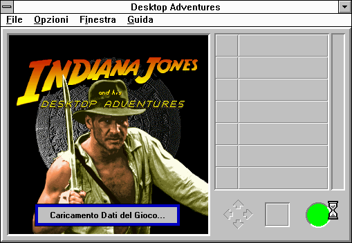Indiana Jones and his Desktop Adventures Windows 3.x Guida?  Mamma mia, this is the start screen to la verzione Italiano!  Let that be a warning for all of you warez kids out there: you get what you pay for!