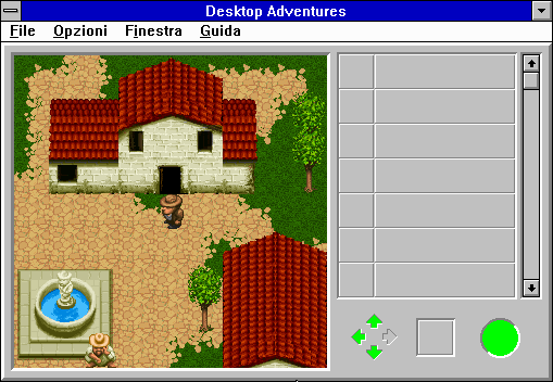 Indiana Jones and his Desktop Adventures Windows 3.x Starting the game outside a charming little villa