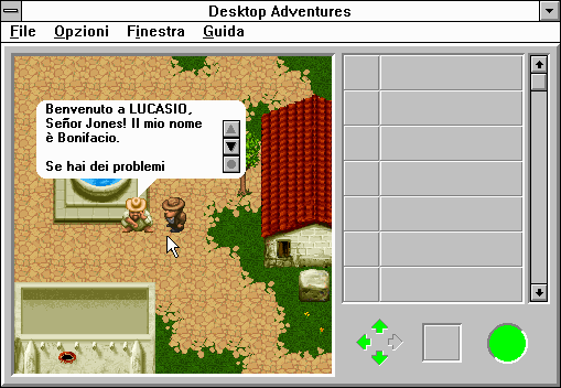Indiana Jones and his Desktop Adventures Windows 3.x A sad man at the fountain recounts to me the tales of his town's woes.  First off, their town has an abominable name!