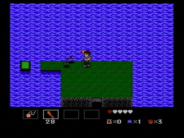 StarTropics Wii Killing bats with a bat.