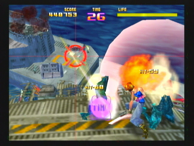 Sin and Punishment Wii Slicing a semi-humanoid Ruffian in half.
