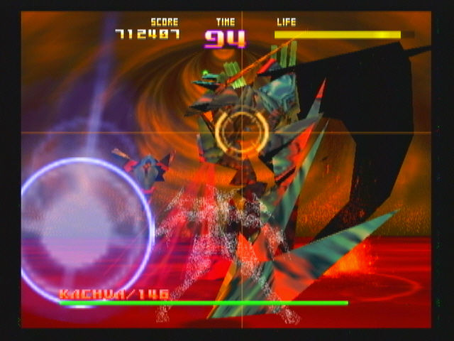 Sin and Punishment Wii The now transformed Saki (the semi transparent form in the foreground) dodging the attacks of the transformed Kachua.