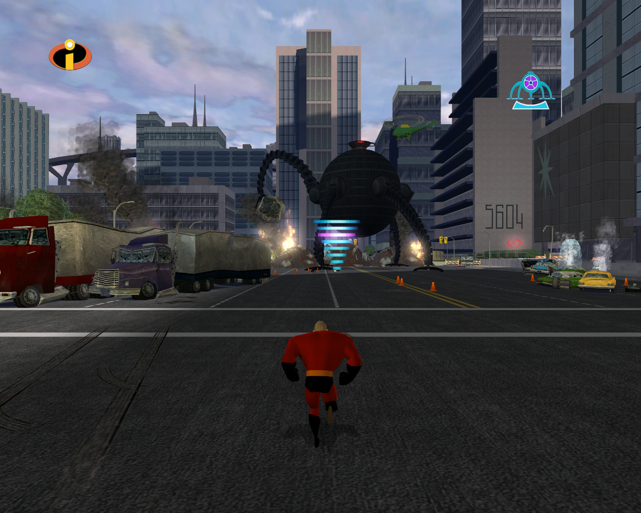 The Incredibles Windows The last Omni-Droid lands in the streets of Metroville.