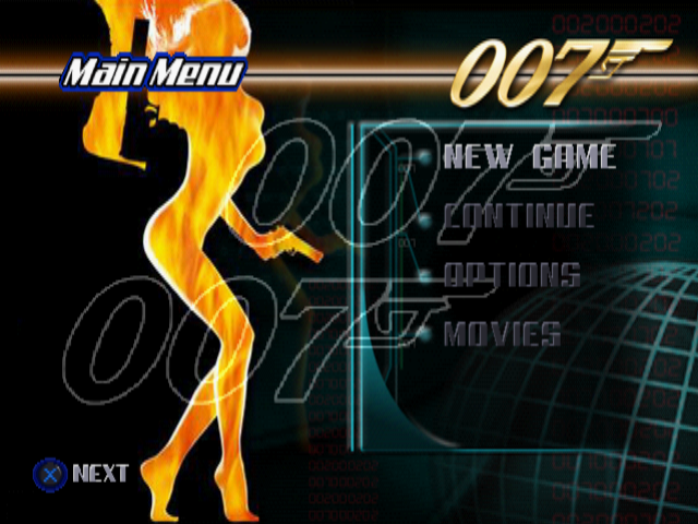 007: The World is Not Enough PlayStation Menu screen.