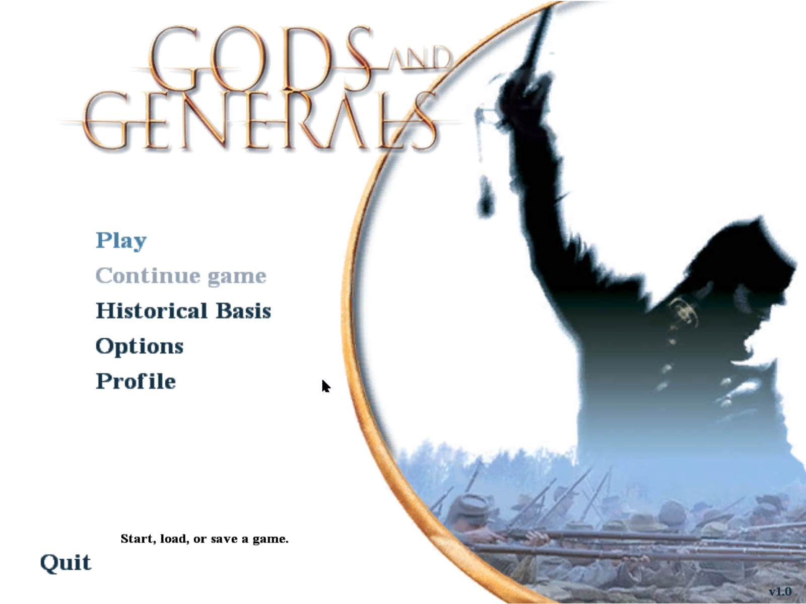 Gods and Generals Windows Main menu