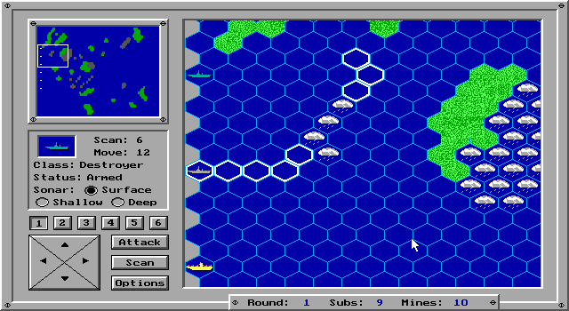 Sea Quest DOS Gameplay. The white hexagons indicate spaces where there might be a submarine, based on sonar responses.