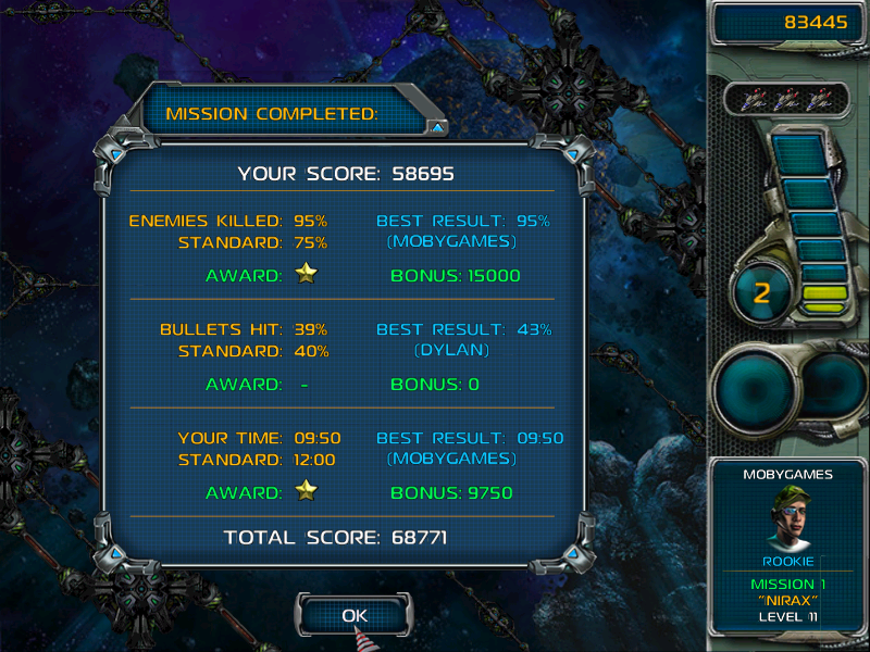 Star Defender III Windows Mission end stats.