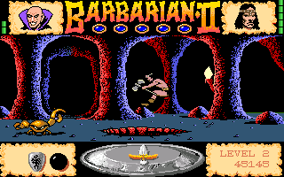 Axe of Rage Amiga Jumping over a pit. There's a hostile crab on the other side, and it will probably push me down to a certain death...