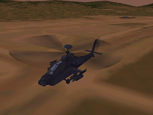 Jane's Combat Simulations: Longbow 2 Windows Apache taking off.