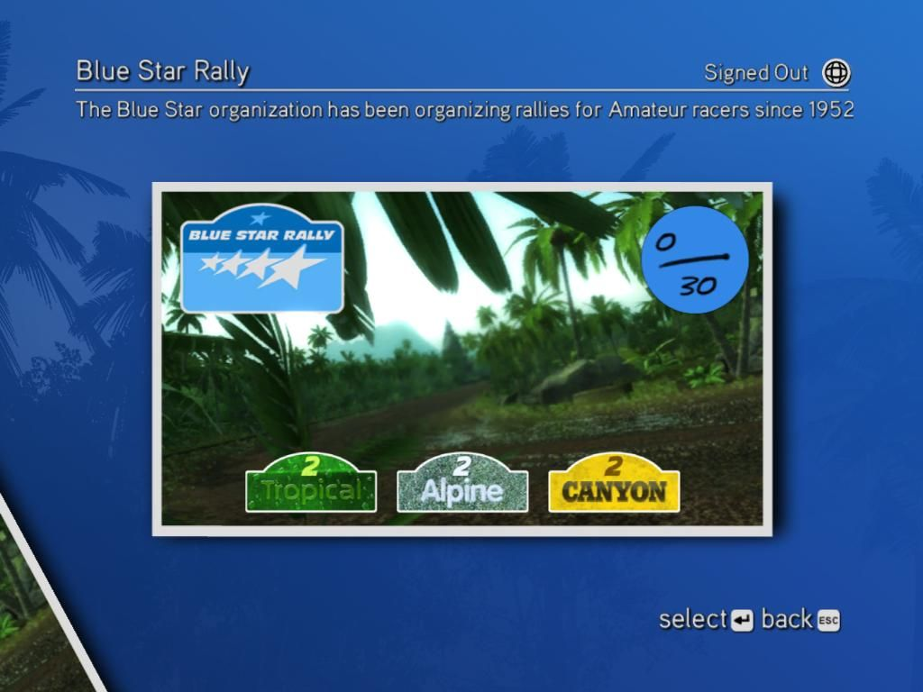 Sega Rally Revo Windows Selecting stage