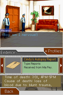 Phoenix Wright: Ace Attorney Nintendo DS Evidence - autopsy report