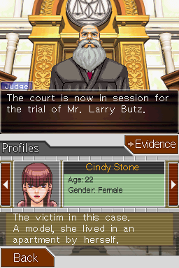 Phoenix Wright: Ace Attorney Nintendo DS The court session begins.