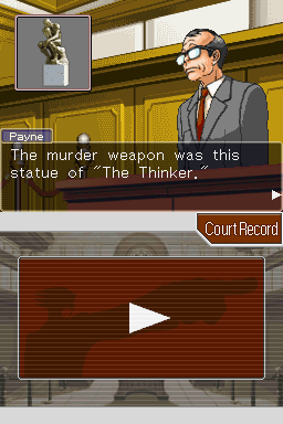 Phoenix Wright: Ace Attorney Nintendo DS The murder weapon