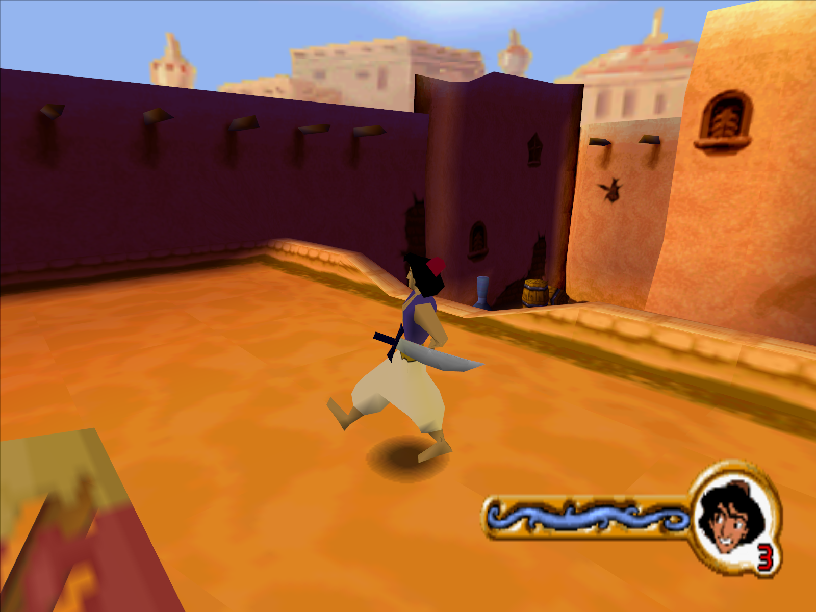 Disney's Aladdin in Nasira's Revenge Windows This is the casually sneaking mode Aladdin has. Ignore the scimitar.