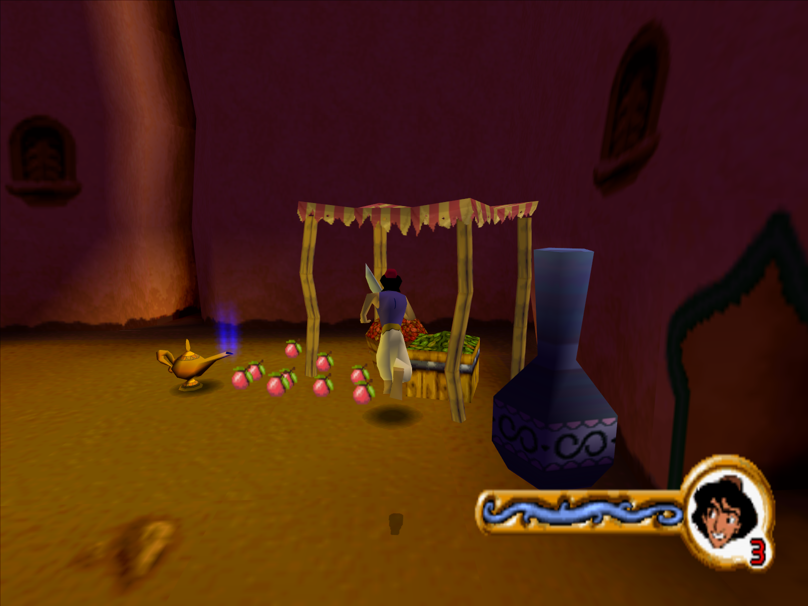 Disney's Aladdin in Nasira's Revenge Windows Get those apples to toss them at enemies or just to cause a distraction.