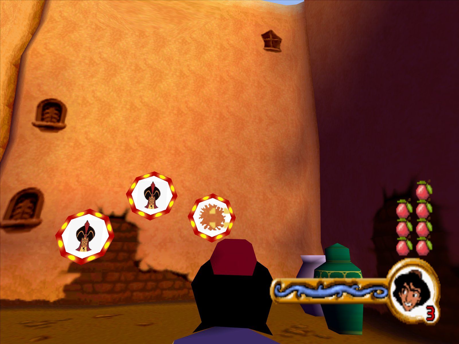Disney's Aladdin in Nasira's Revenge Windows Target practice with the apples