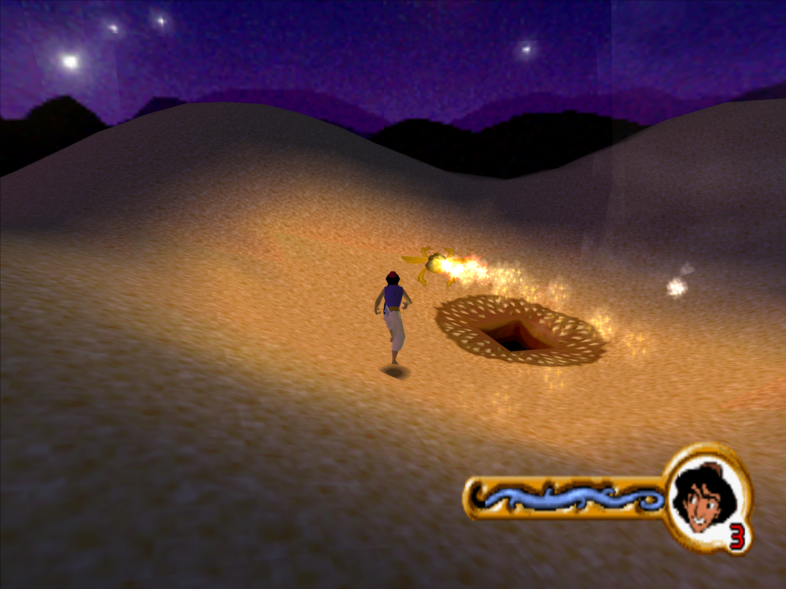 Disney's Aladdin in Nasira's Revenge Windows Follow the scarab to the Cave of Wonders.