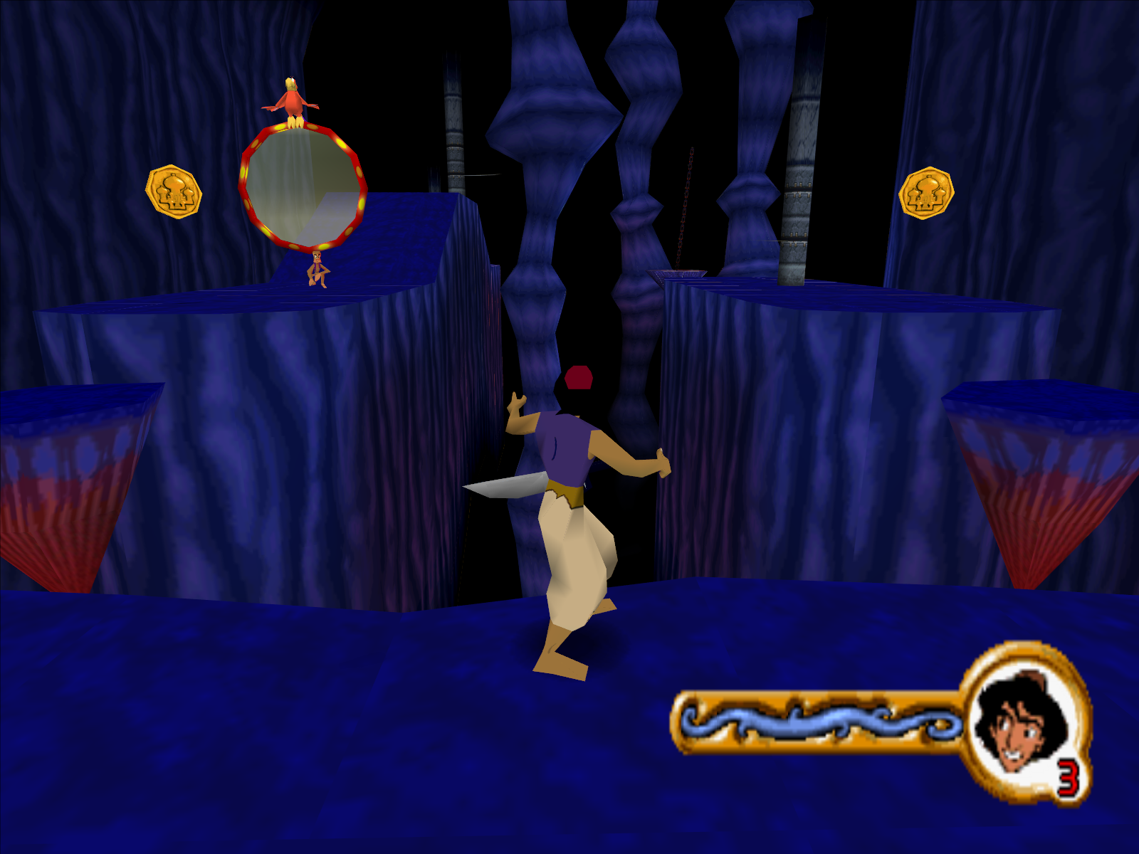 Disney's Aladdin in Nasira's Revenge Windows Inside the cave are pitfalls-o-plenty.