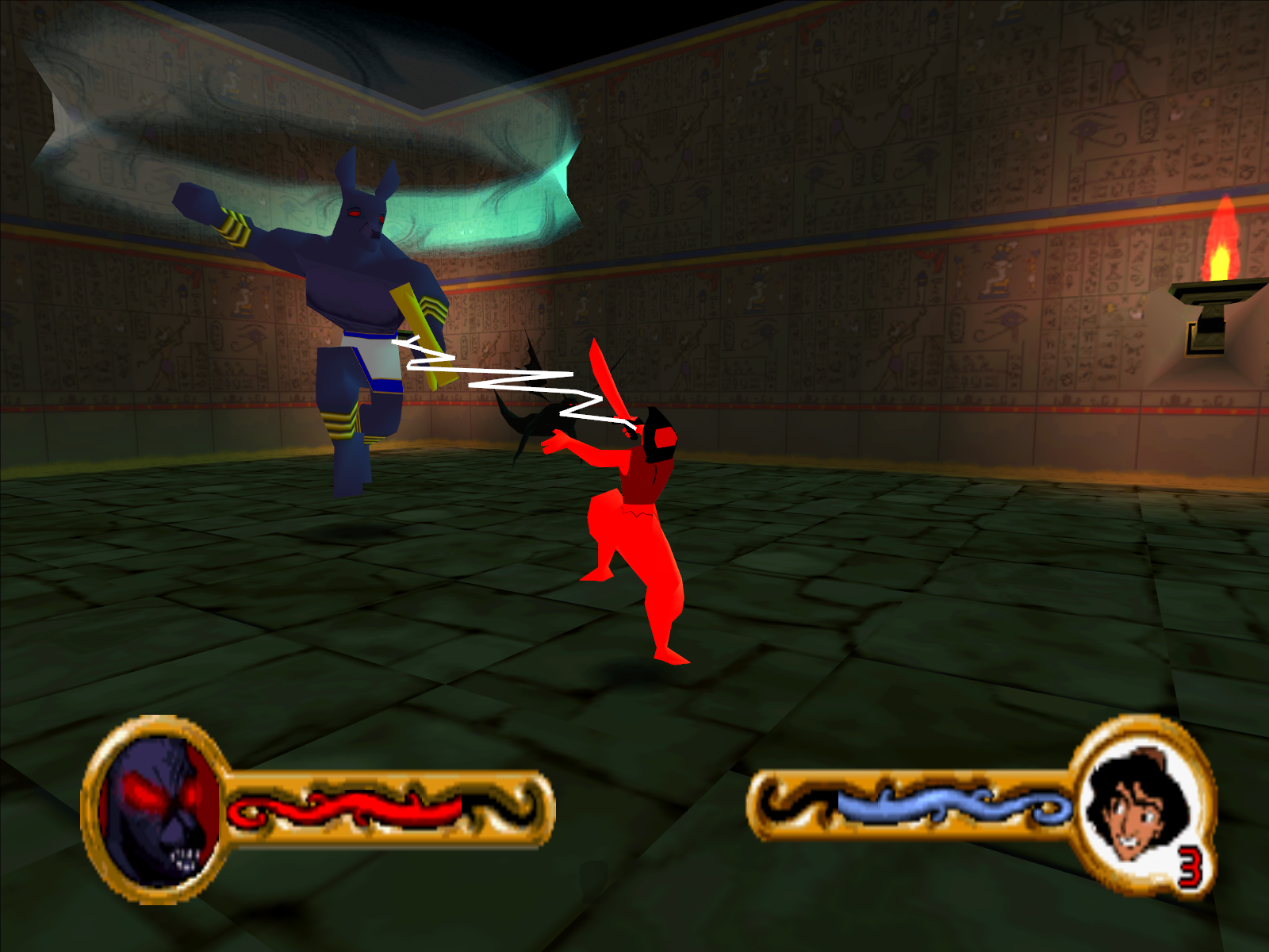 Disney's Aladdin in Nasira's Revenge Windows Anubis electrocuting Aladdin in battle.