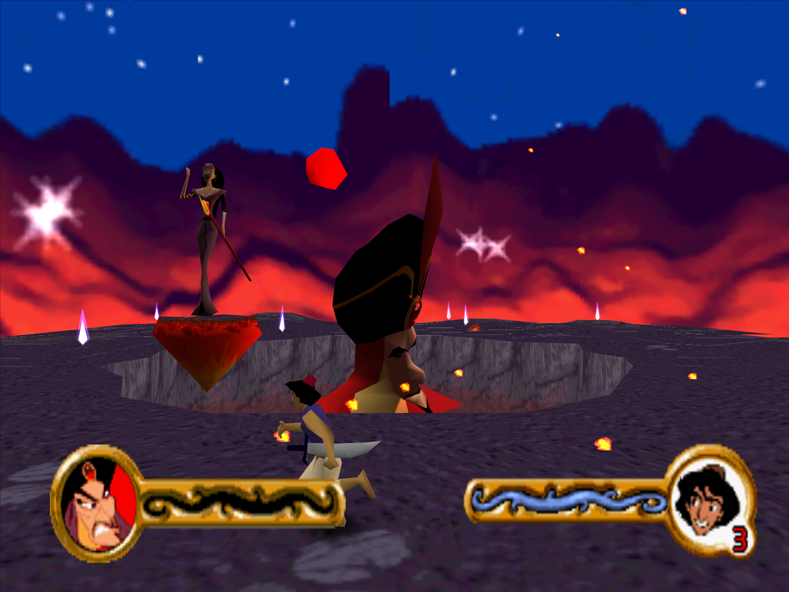 Disney's Aladdin in Nasira's Revenge Windows Aladdin vs Nasira and Jafar.