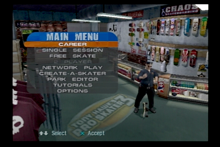 Tony Hawk's Pro Skater 3 PlayStation 2 Main menu