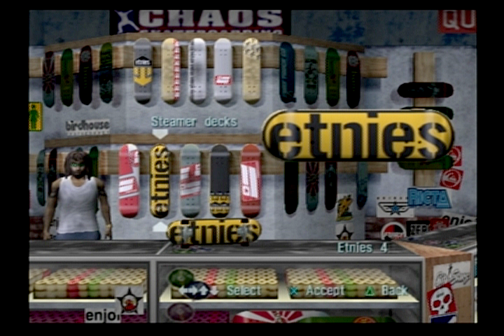 Tony Hawk's Pro Skater 3 PlayStation 2 New decks can be unlocked for each skater.