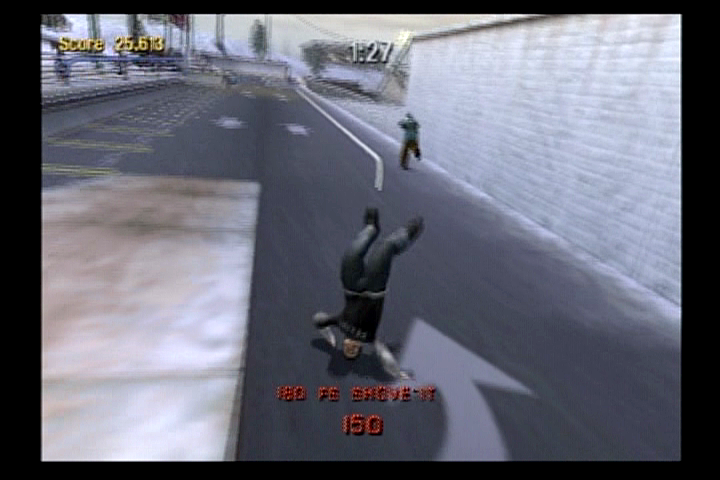 Tony Hawk's Pro Skater 3 PlayStation 2 Bam takes a bam on the head.