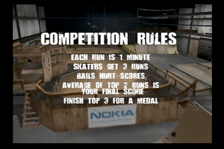 Tony Hawk's Pro Skater 3 PlayStation 2 At Skater Island, you must compete against other skaters for the best score.
