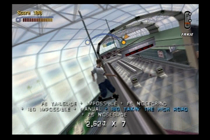 Tony Hawk's Pro Skater 3 PlayStation 2 Nosesliding the lights at the airport.