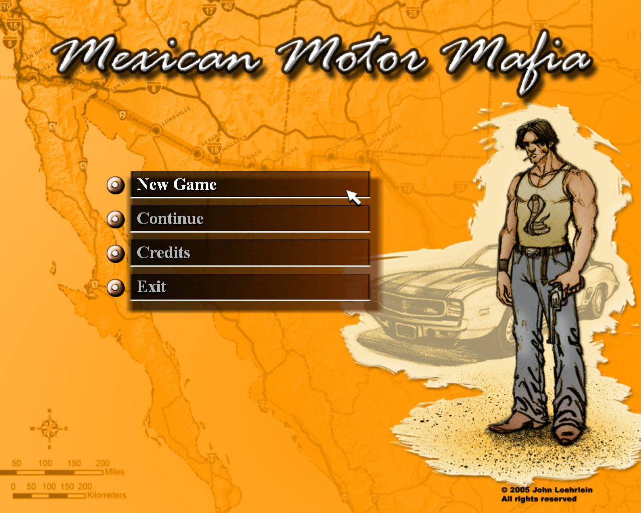 Mexican Motor Mafia Windows Main menu.