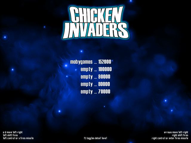 Chicken Invaders Windows Main menu/ High Score table/ Options screen.