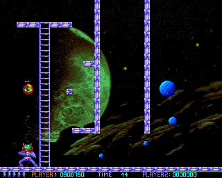 Ooops Up Amiga A flying eye is approaching. It can be killed with the harpoon.