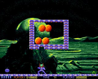Ooops Up Amiga You can destroy bricks with your weapon. It's necessary to win this level.
