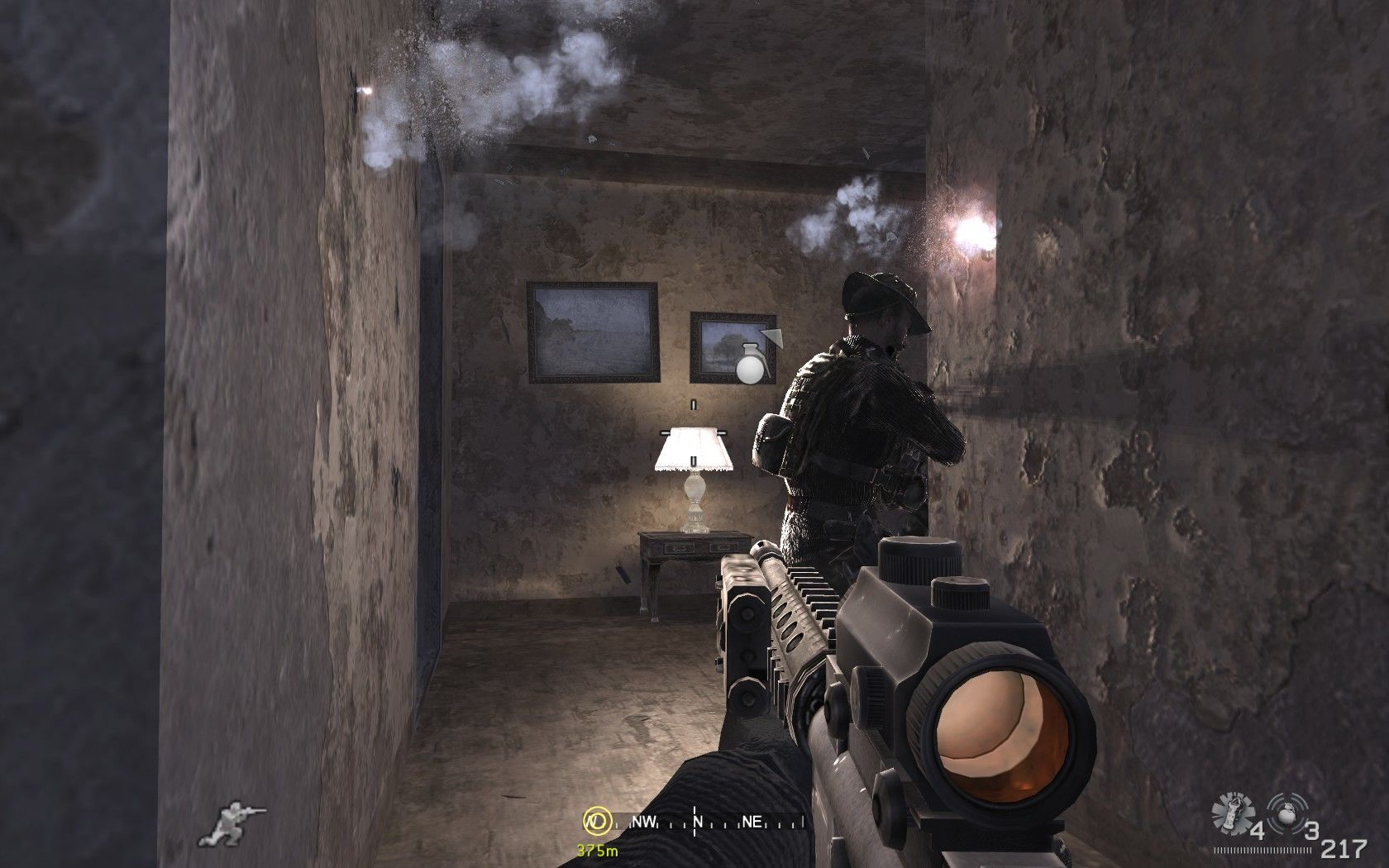Call of Duty 4: Modern Warfare Windows Some curiosities: nearby grenades are indicated through an icon (very useful) and bullets can pass through crappy walls.