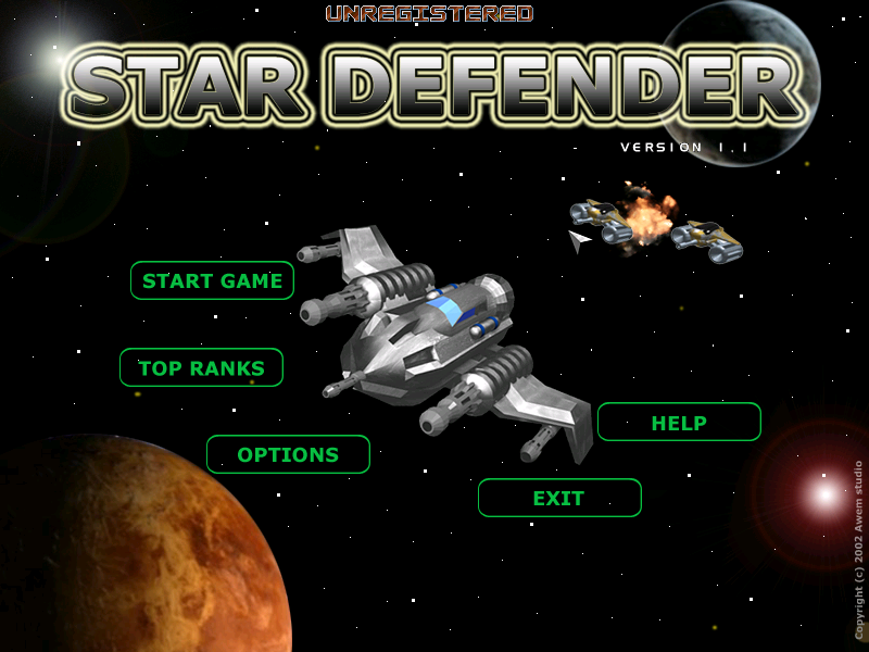 Star Defender Windows Main menu.