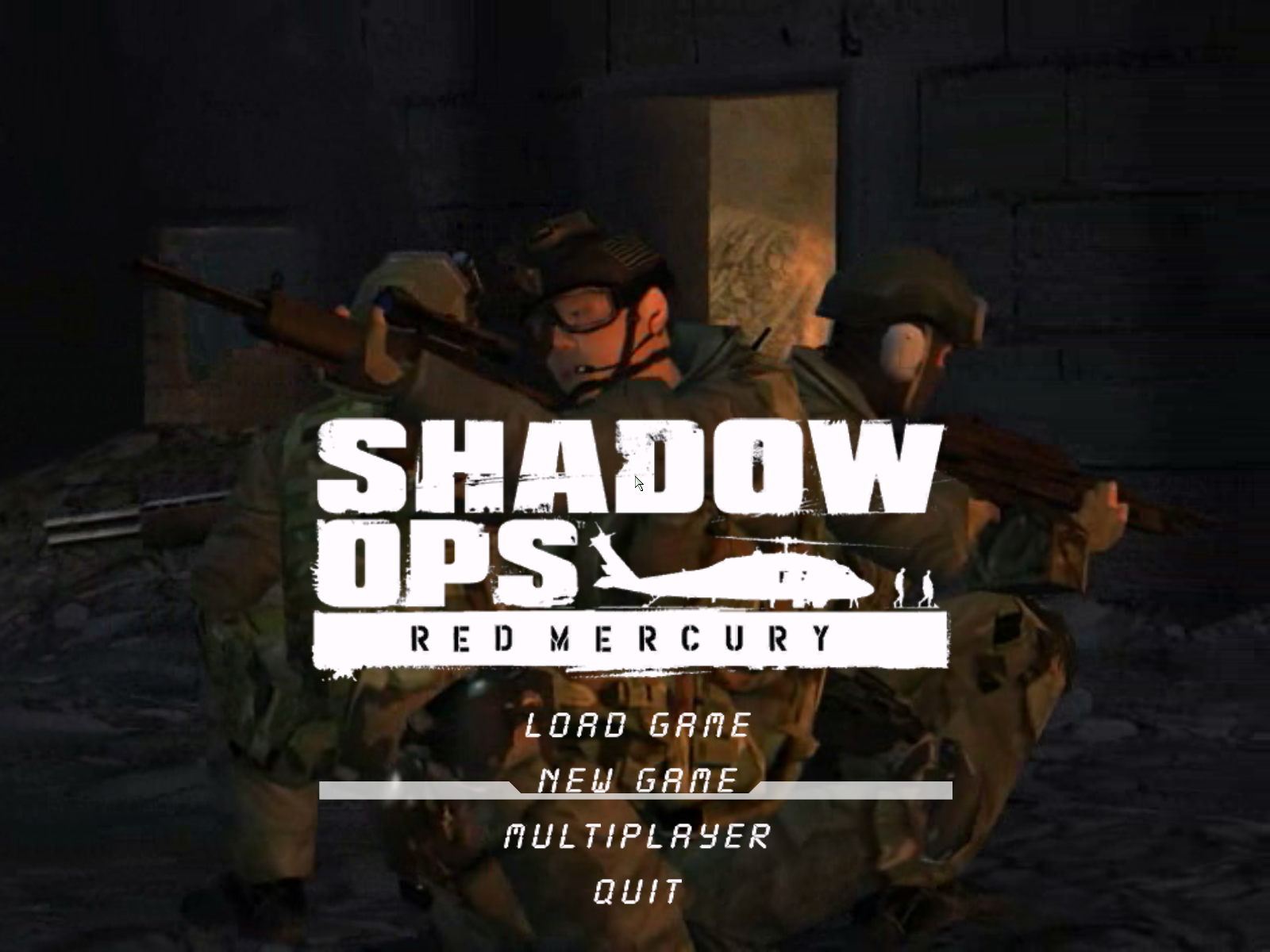 Shadow Ops: Red Mercury Windows Main menu