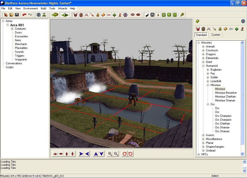 Neverwinter Nights Windows The Lay of the Land. Designing an outdoors setting, complete with elves and minotaurs.