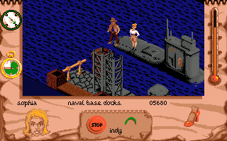 Indiana Jones and The Fate of Atlantis: The Action Game Amiga Level 3. Getting on the Nazi sub.