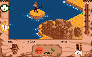 Indiana Jones and The Fate of Atlantis: The Action Game Amiga Indy jumps on a little island.