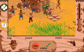 Indiana Jones and The Fate of Atlantis: The Action Game Amiga Indy meets up with some natives.
