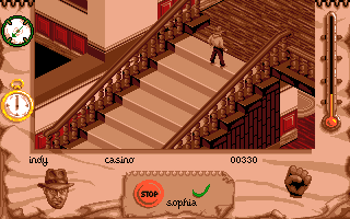 Indiana Jones and The Fate of Atlantis: The Action Game Amiga Stairs on Level 1.