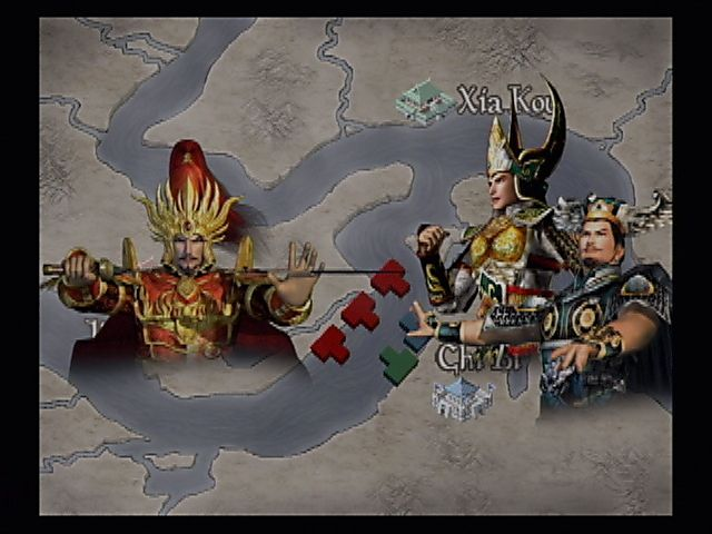 Kessen II PlayStation 2 Wei, meet the mighty power of Wu-Shu! Pre-battle strategic overviews often involve a map with standard unit icons and imagery of the generals involved. Here the Army of Wei engages the combined fleets of Wu and Shu at Chi Bi.